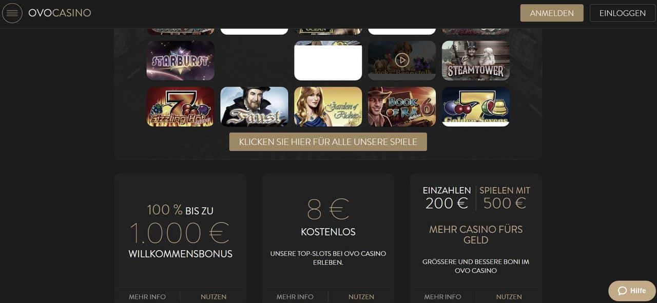 Ovo Casino Test und Erfahrung - Startseite